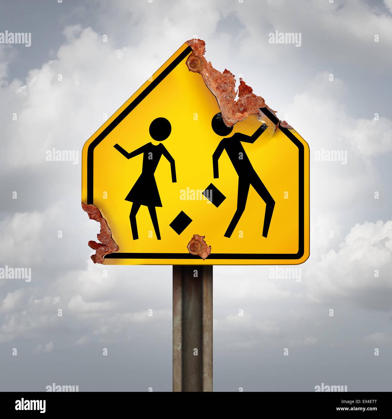 La educación disminuye y descuidado los problemas escolares concepto como un estudiante oxidado cruce de tráfico Imagen De Stock