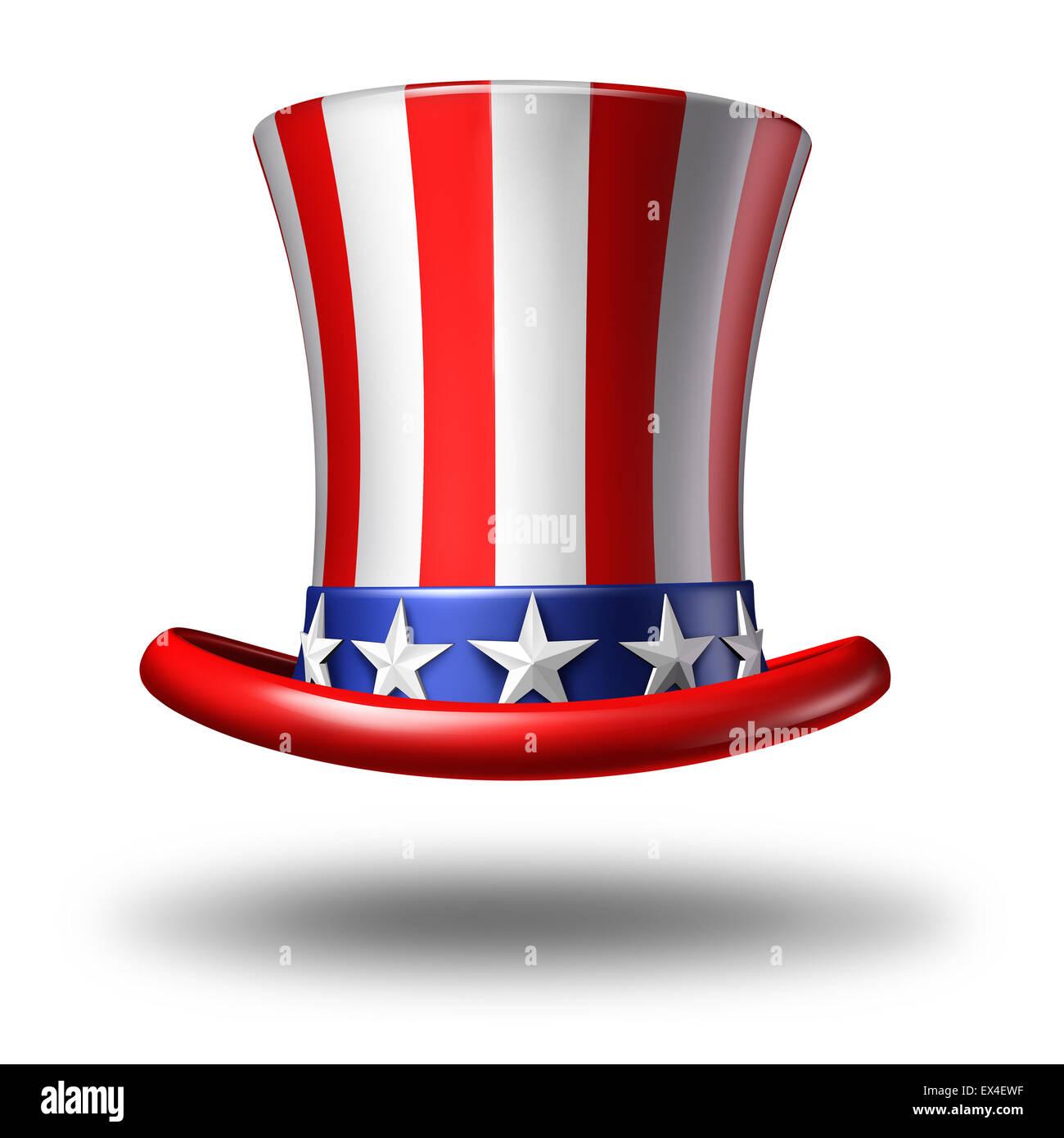 American hat icono como un símbolo de estrellas y rayas sobre un fondo blanco como un concepto de patriotismo Imagen De Stock