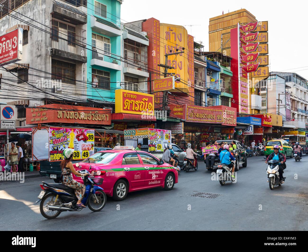 El tráfico en la ciudad de Pattaya, Chon Buri, Tailandia Foto de stock