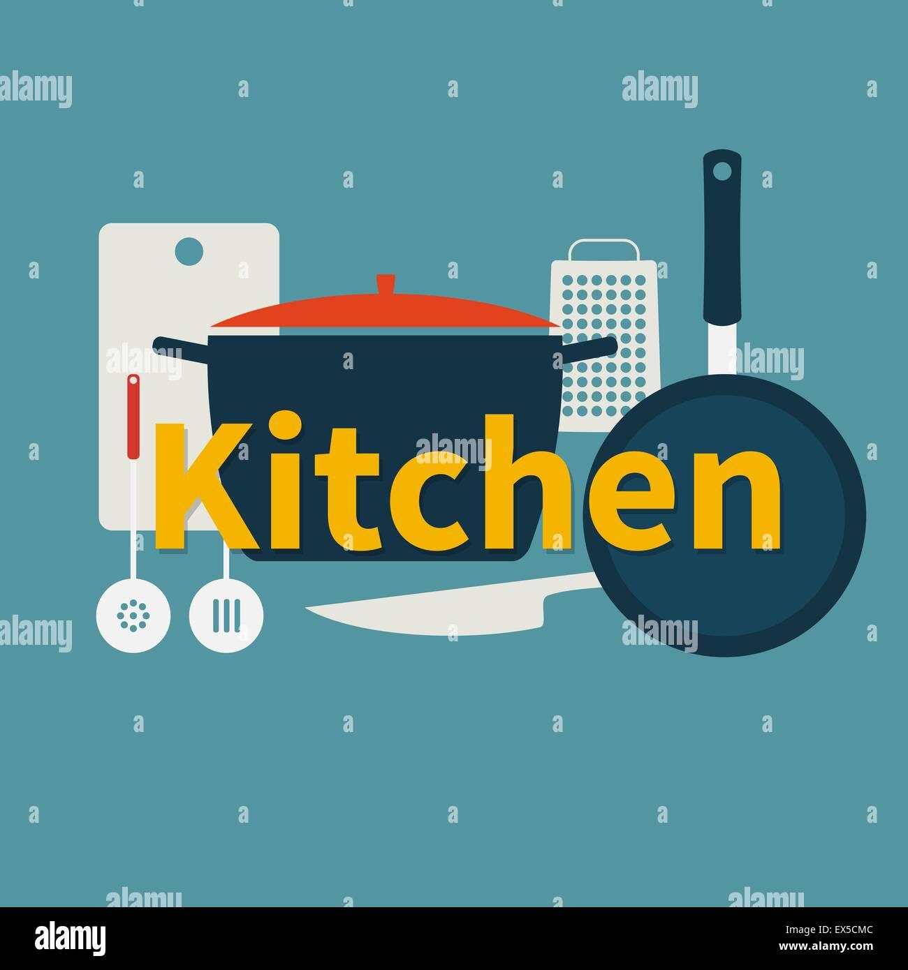 Utensilios de cocina. Diseño plano Ilustración del Vector, Imagen ...