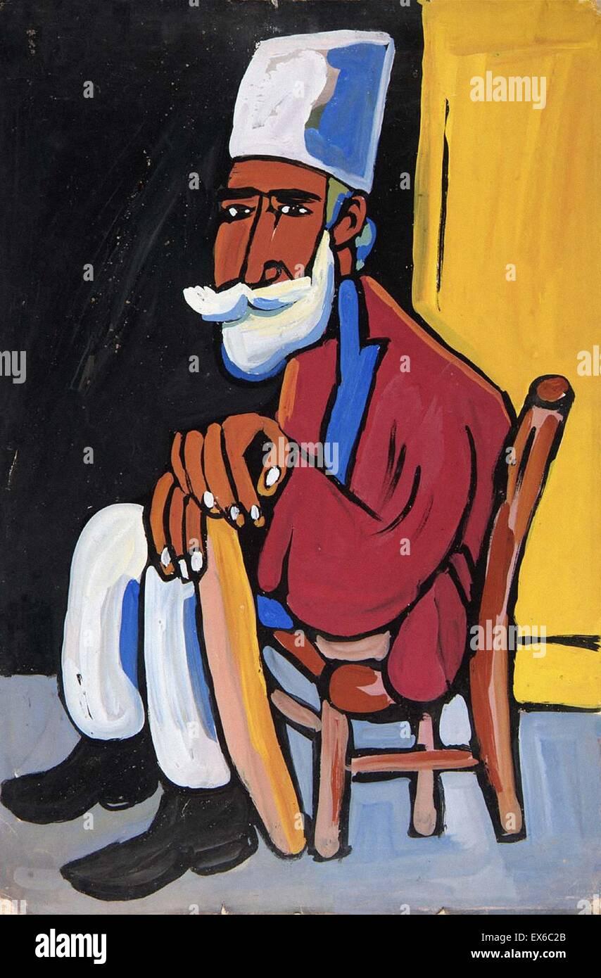 William H. Johnson Hombre Barbado en Tan silla Foto de stock