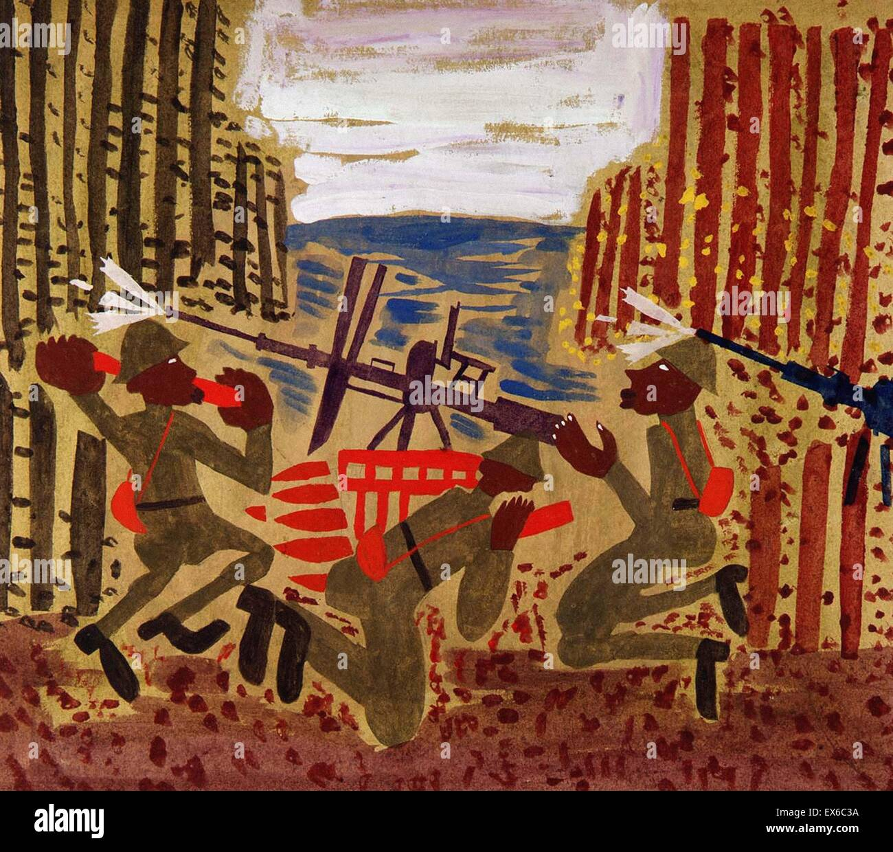William H. Johnson escena de guerra Imagen De Stock
