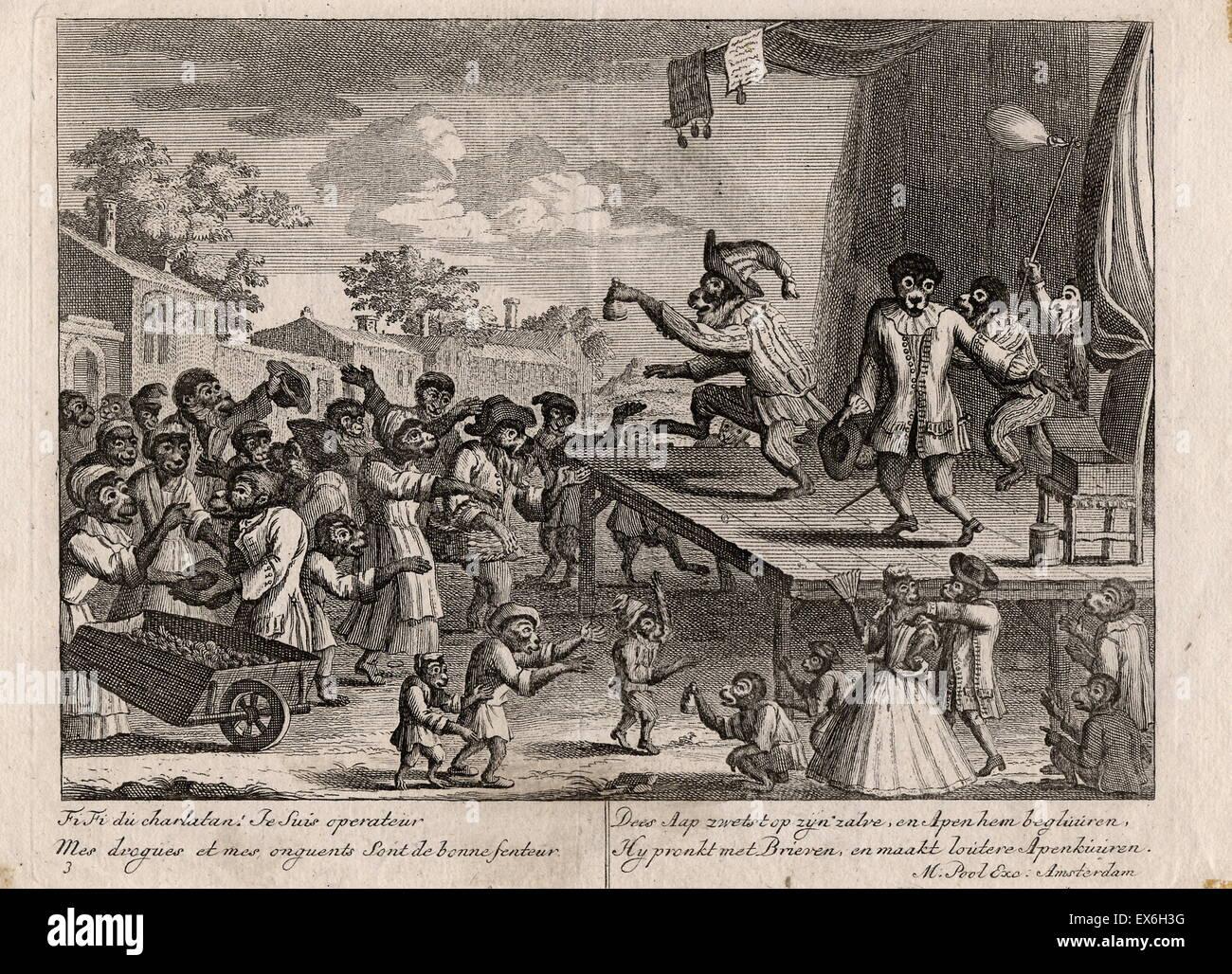 Escena del mercado con monos vestidos como seres humanos. Un charlatán de pie sobre una plataforma en un mercado Imagen De Stock