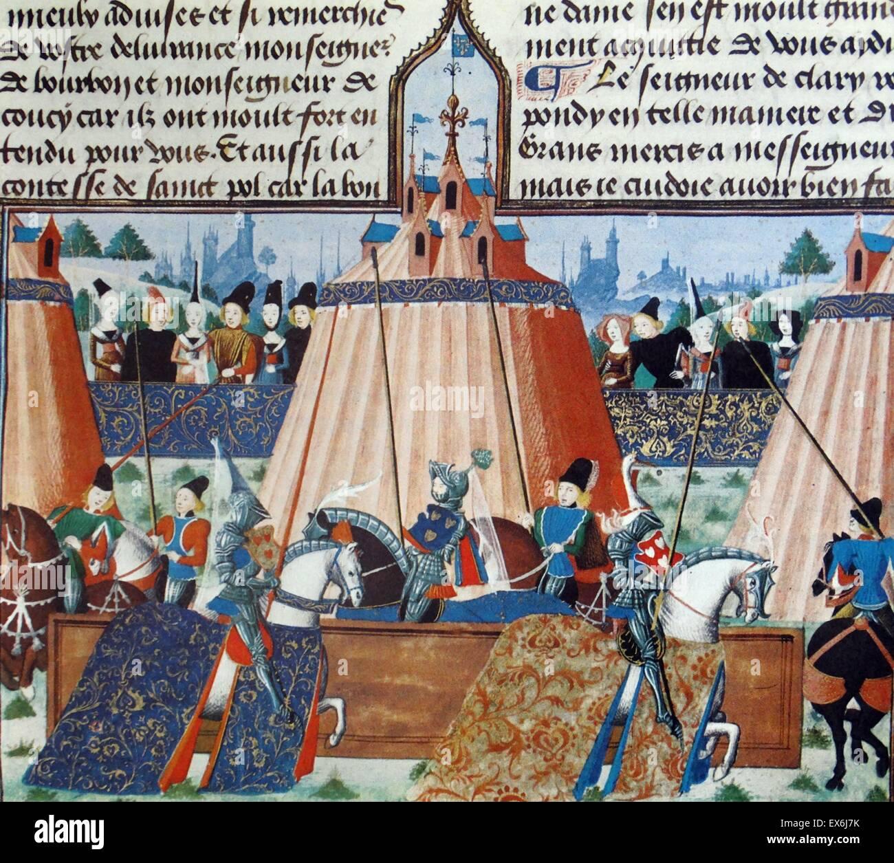 """El concepto medieval de caballerías y caballeresca, mostrado en el torneo """"justas de Ingleuerch' de Imagen De Stock"""