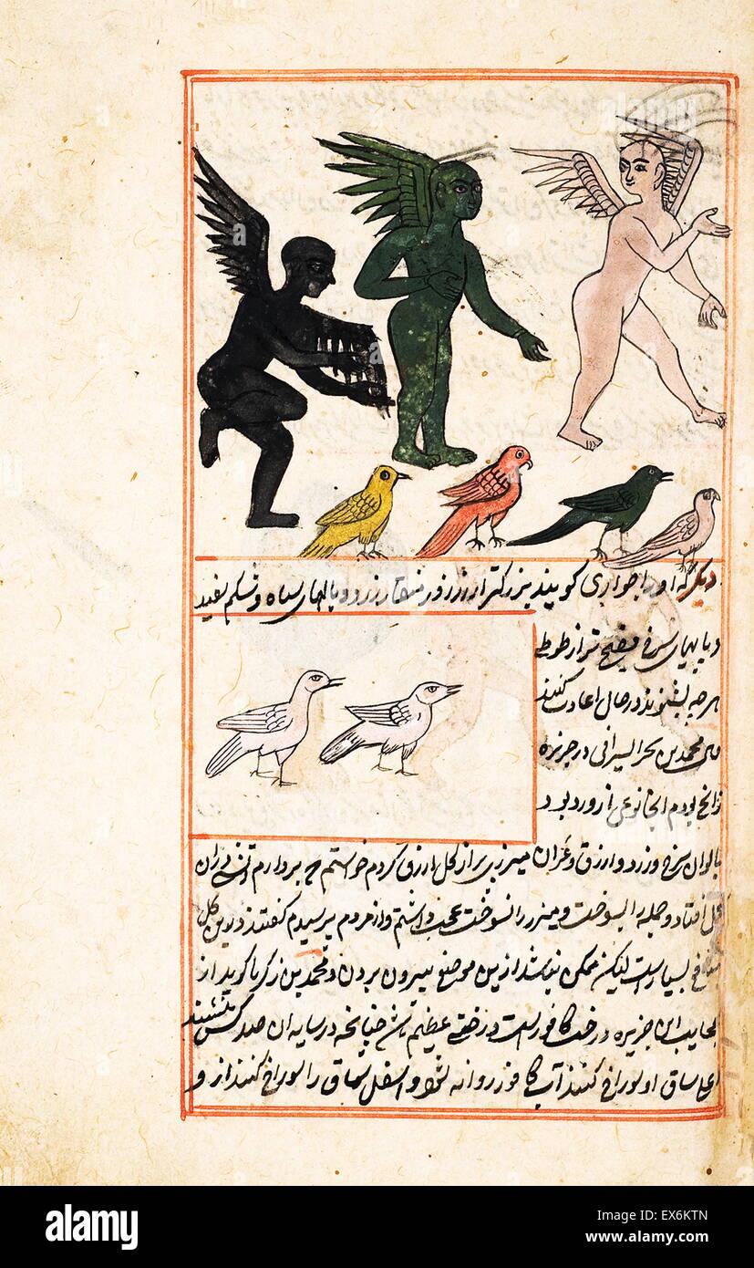Ilustración representando criaturas de la isla de Zaneh, desde 1538, la edición de 'Kit?b-I ?Aj?y?b Imagen De Stock