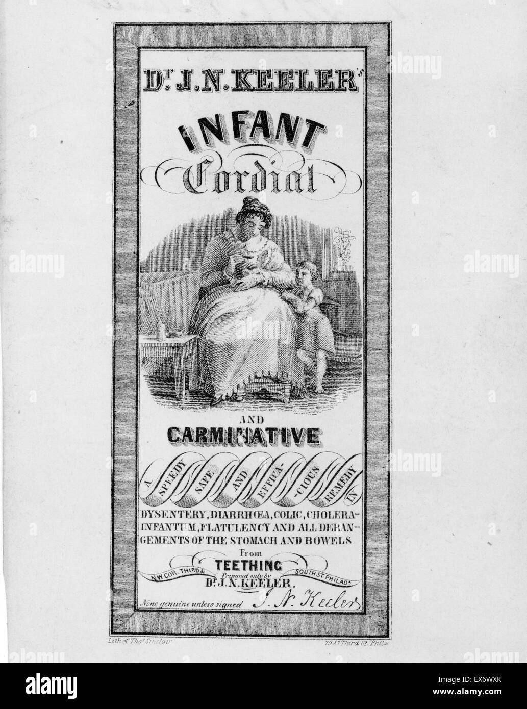 Etiqueta de patentes de medicina del Dr. J.N. Keeler es cordial y carminativo medicina infantil que muestra una mujer dándole el medicamento a su niño. Fecha 1846 Foto de stock