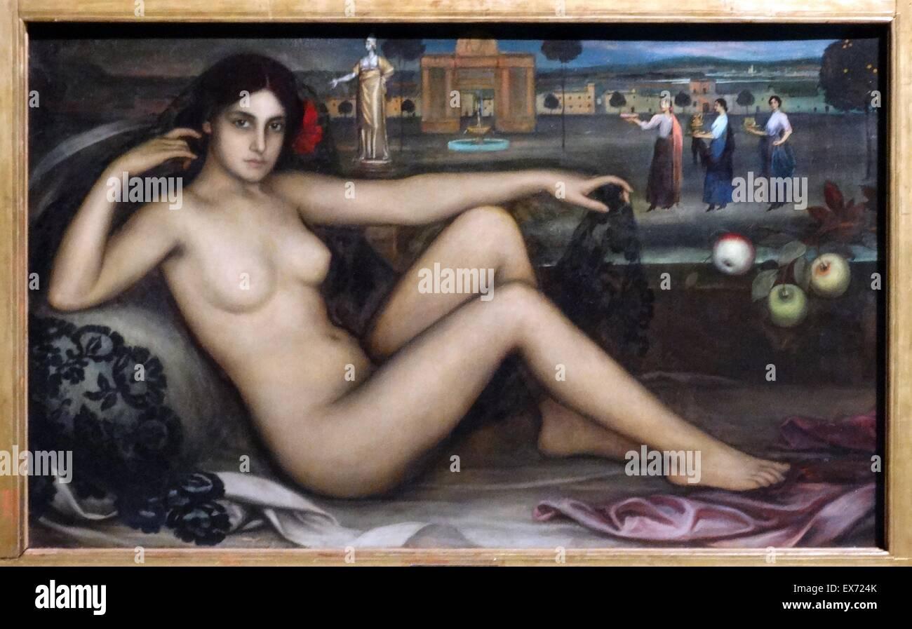 Julio Romero de Torres (1880-1930) el retaule de 1'Amor / El retablo del Amor/ El Retablo del amor de 1910. Imagen De Stock