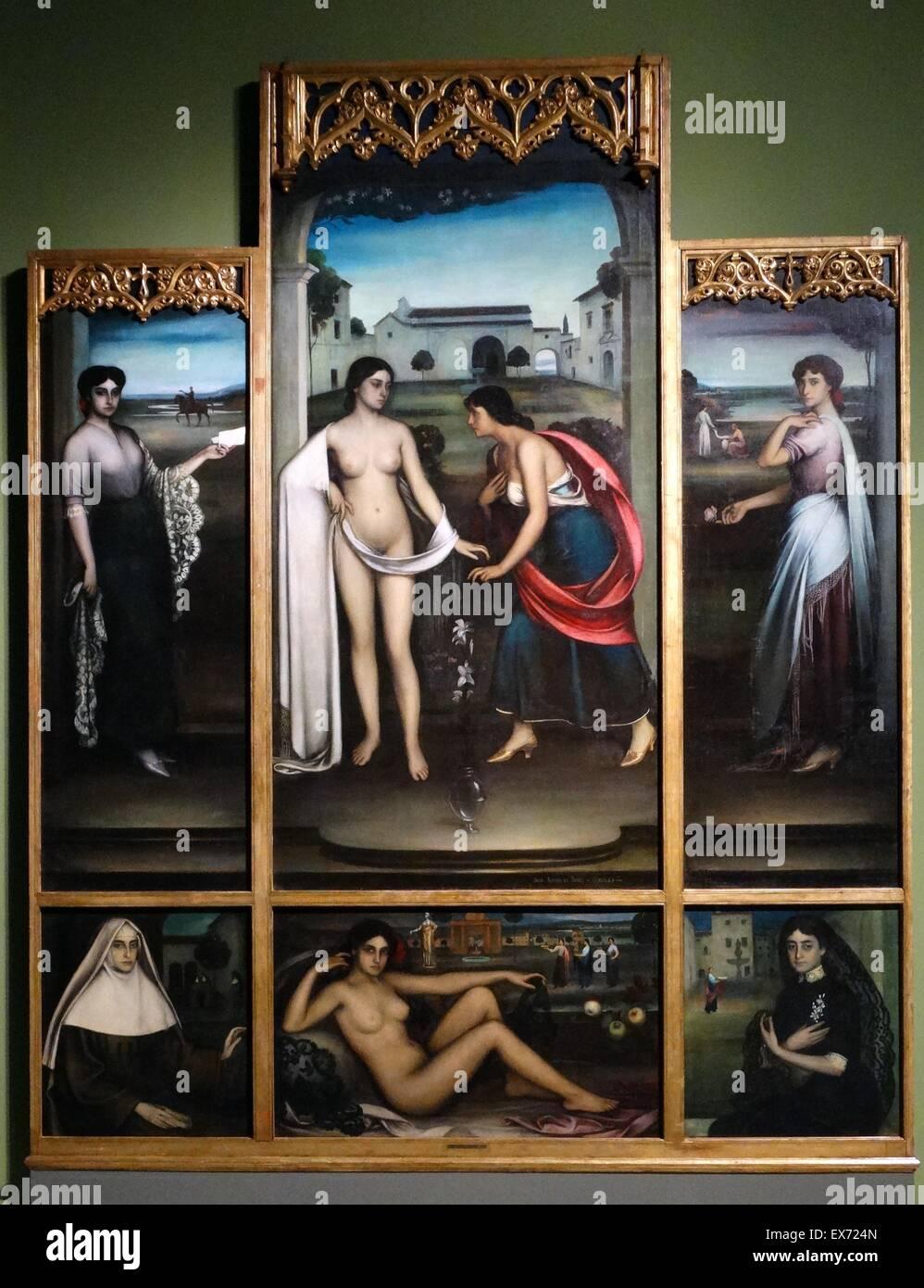 Julio Romero de Torres (1880-1930) el retaule de 1'Amor El retablo del Amor El Retablo del amor de 1910. Óleo Imagen De Stock