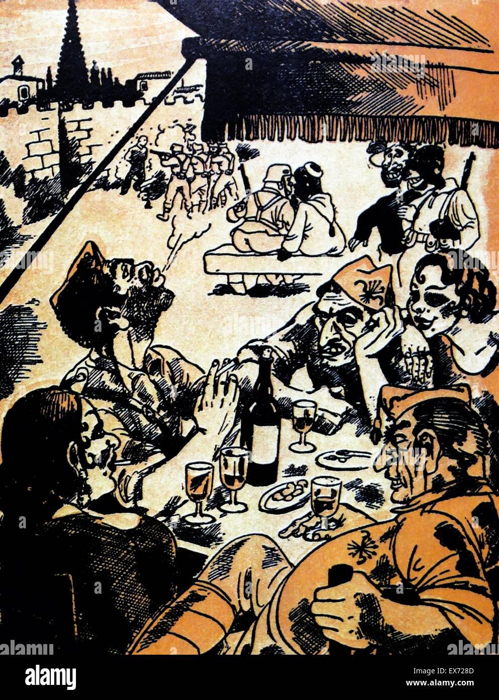 Caricatura satírica republicano representando una ejecución sumaria y relajado grupo de nacionalistas Imagen De Stock