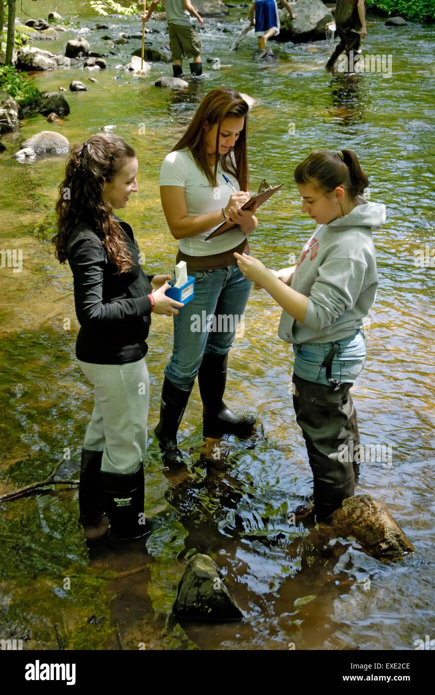 Adolescente femenina estudiantes en viaje de campo río pruebas para indicadores químicos de calidad de Imagen De Stock