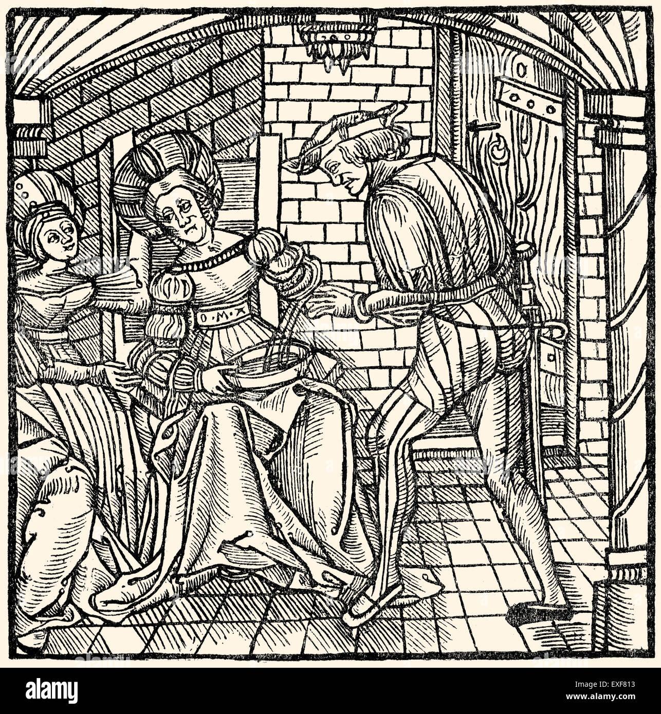 El tratamiento de la medicina de la sangría, procedimiento, xilografía, 1519, Imagen De Stock