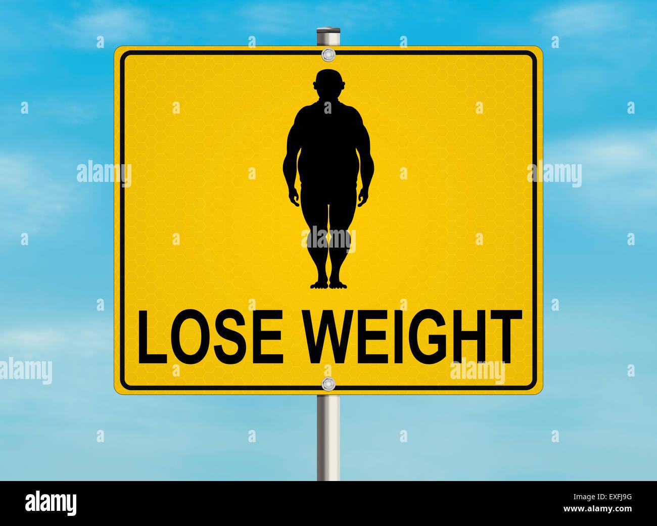 Un cartel con el tema de la obesidad y el peso correcto en el fondo del cielo. Ilustración de raster. Imagen De Stock