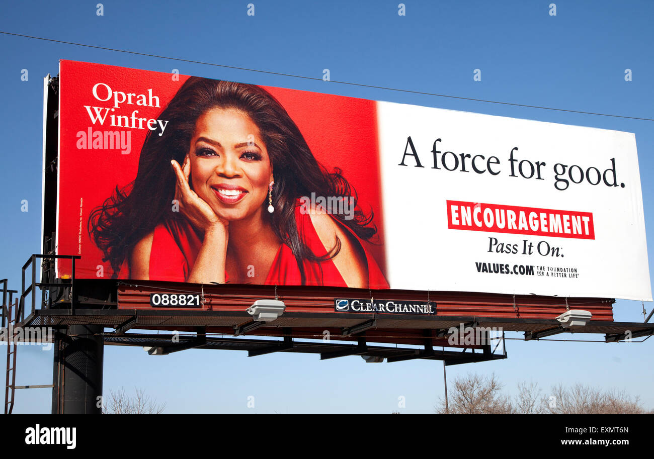 Oprah Winfrey billboard. Una fuerza para el bien. Aliento pasar. St Paul MN Minnesota EE.UU. Imagen De Stock