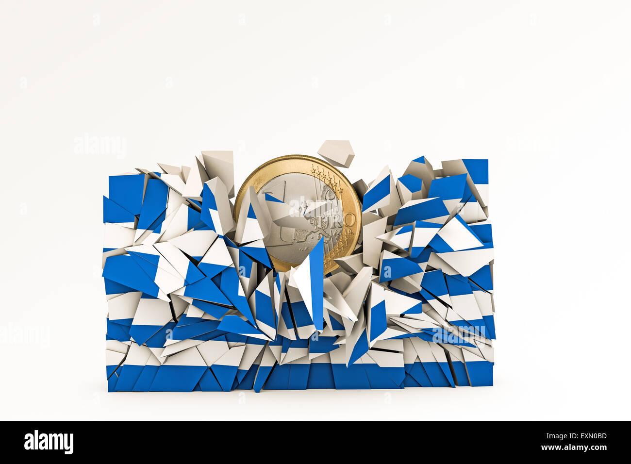 Bandera griega se estrelló bajo peso Euro Foto de stock