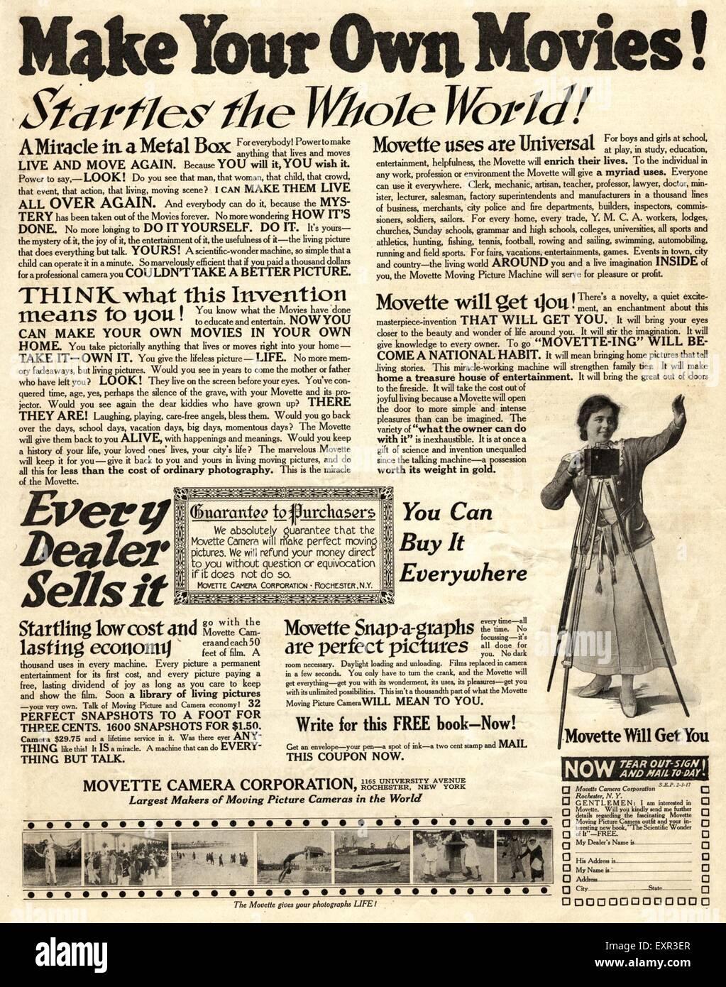 1900 EE.UU. Anuncio de la revista Movette cámaras de cine Imagen De Stock