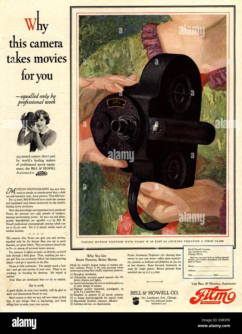 1920 EE.UU. Anuncio de la revista Filmo cámaras de cine Imagen De Stock