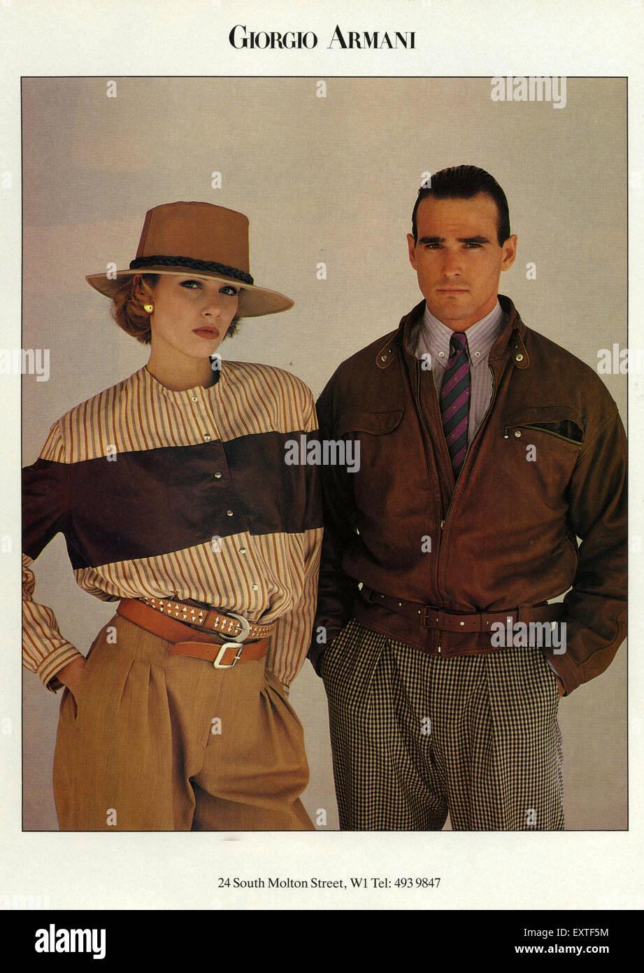 1980s Uk Armani Magazine Advert Imágenes De Stock & 1980s Uk