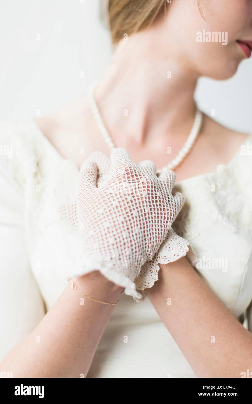 Sección intermedia de novia vestidos de guante formal Imagen De Stock