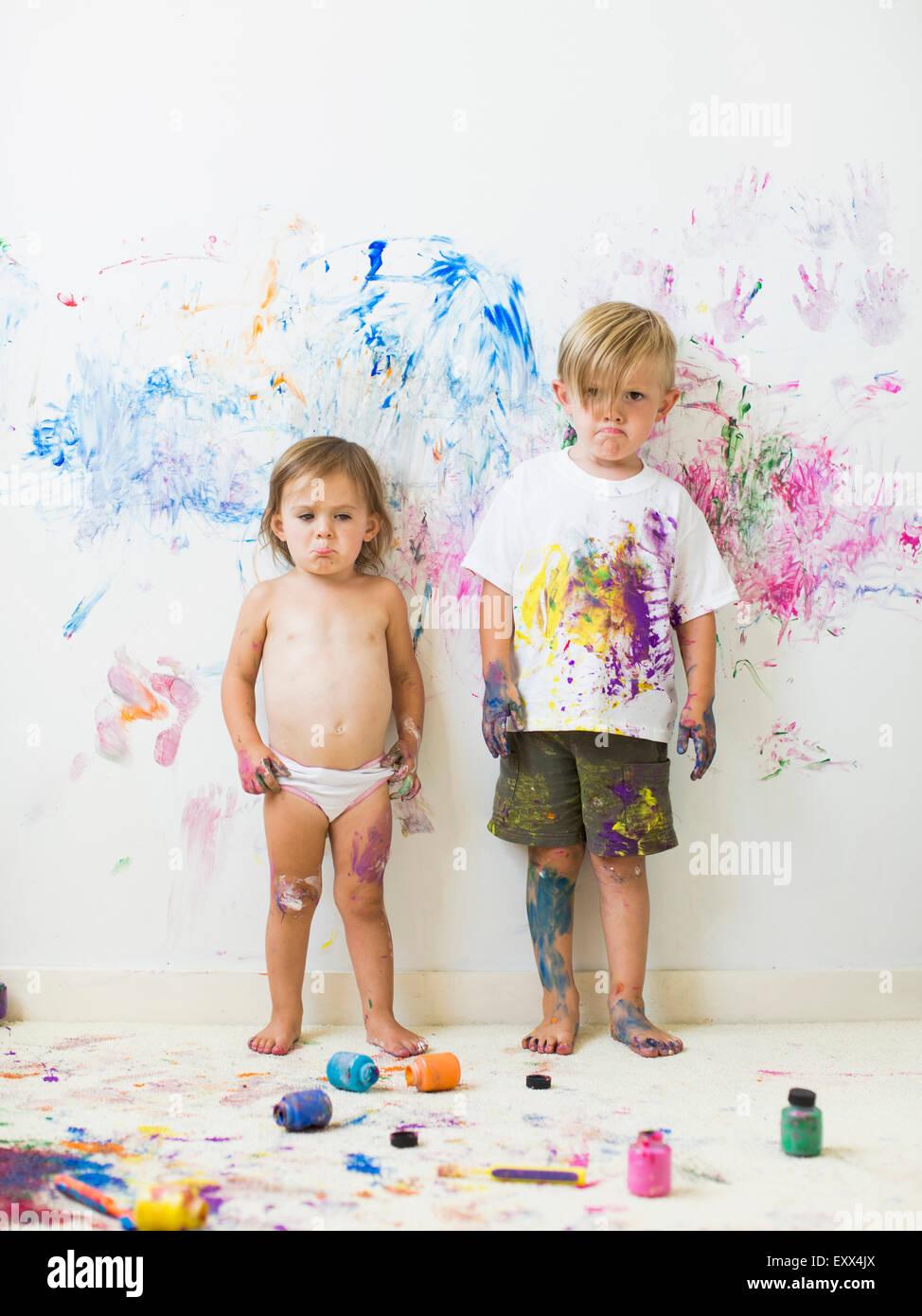 Niños (2-3) Pintura mural Imagen De Stock