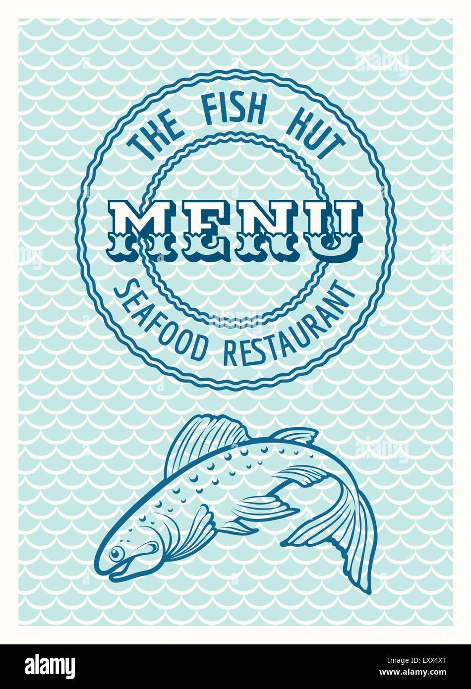 Restaurante de mariscos Vintage poster o plantilla de menú. Única ...
