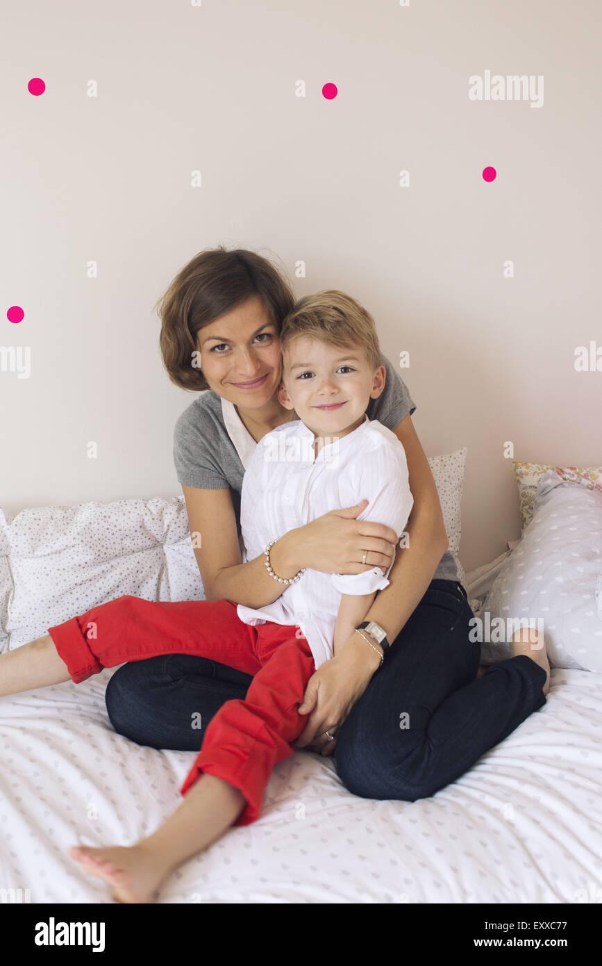 Madre e hijo, Retrato Foto de stock