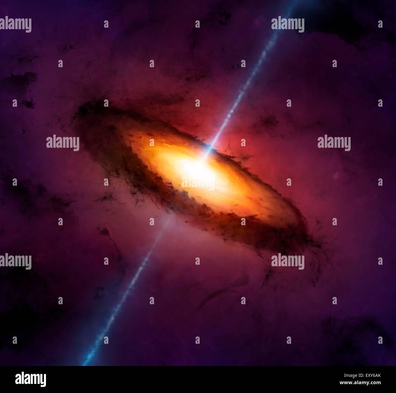 Ilustración de un núcleo galáctico activo, o AGN. Muchos, quizá la mayoría de las grandes Imagen De Stock