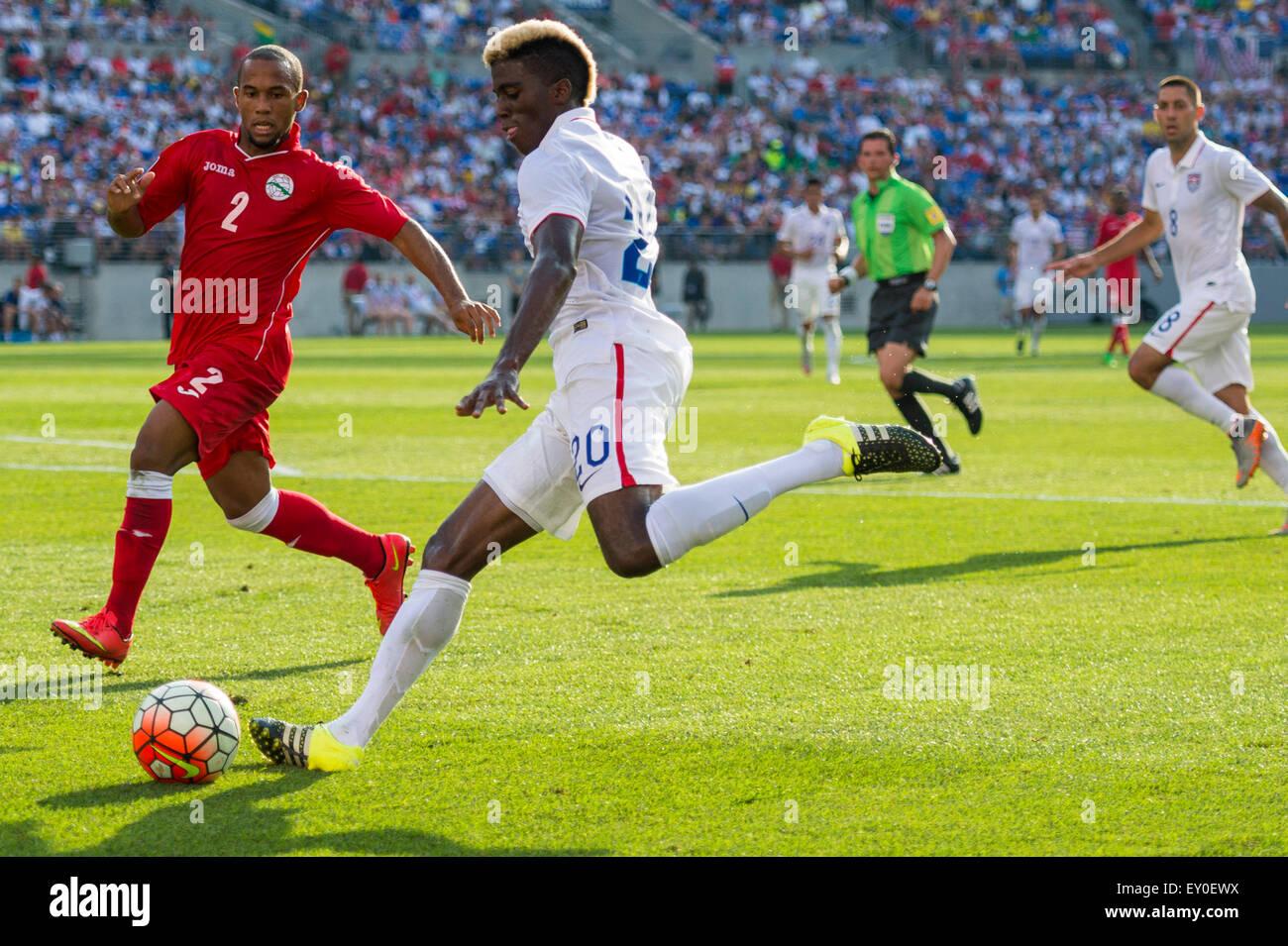 Baltimore, Maryland, EE.UU. El 18 de julio, 2015. #20 USA M Gyasi Zardes durante la Copa de Oro CONCACAF quarterfinal Imagen De Stock
