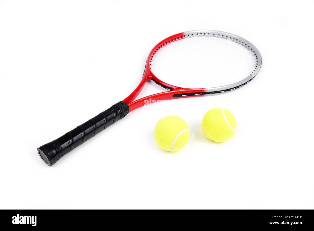 Raqueta de tenis aislado sobre fondo blanco. Imagen De Stock