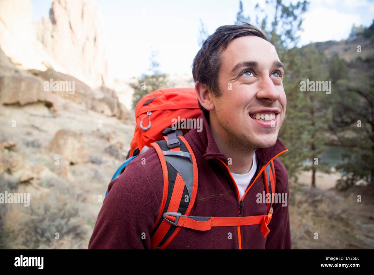 Caminante, Smith Rock State Park, Oregón, EE.UU. Imagen De Stock