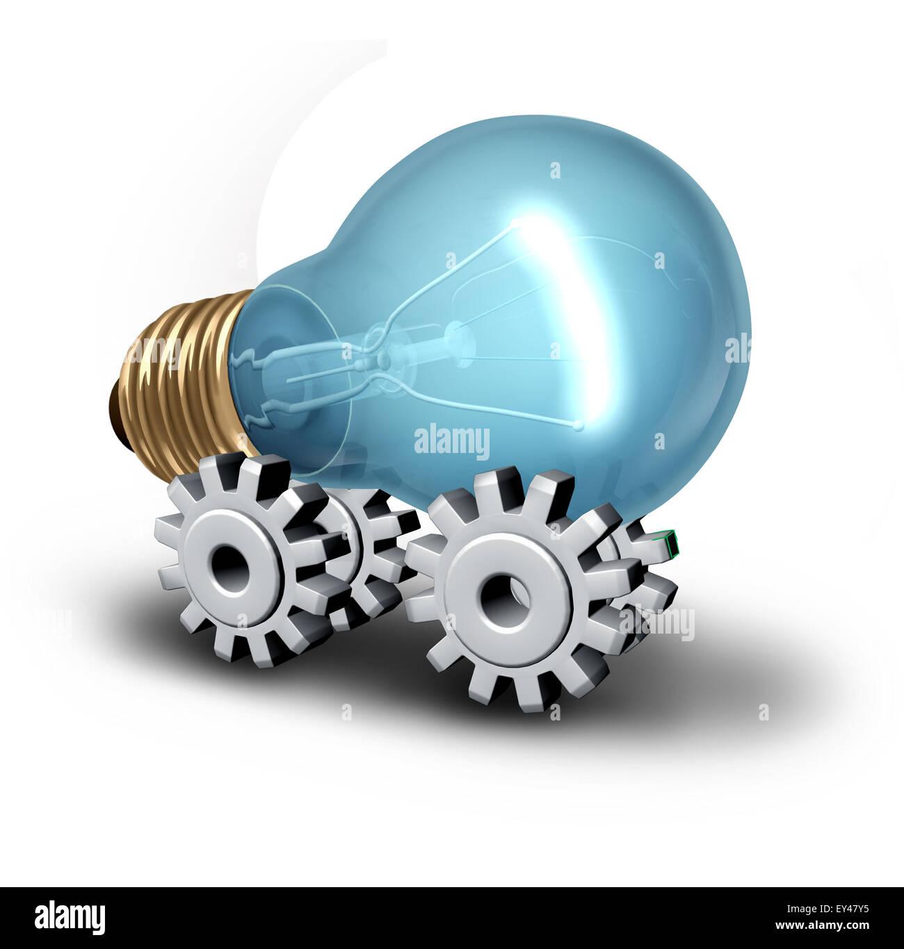 Industria Electricicity concepto y la idea del vehículo eléctrico como una bombilla en el engranaje o Imagen De Stock