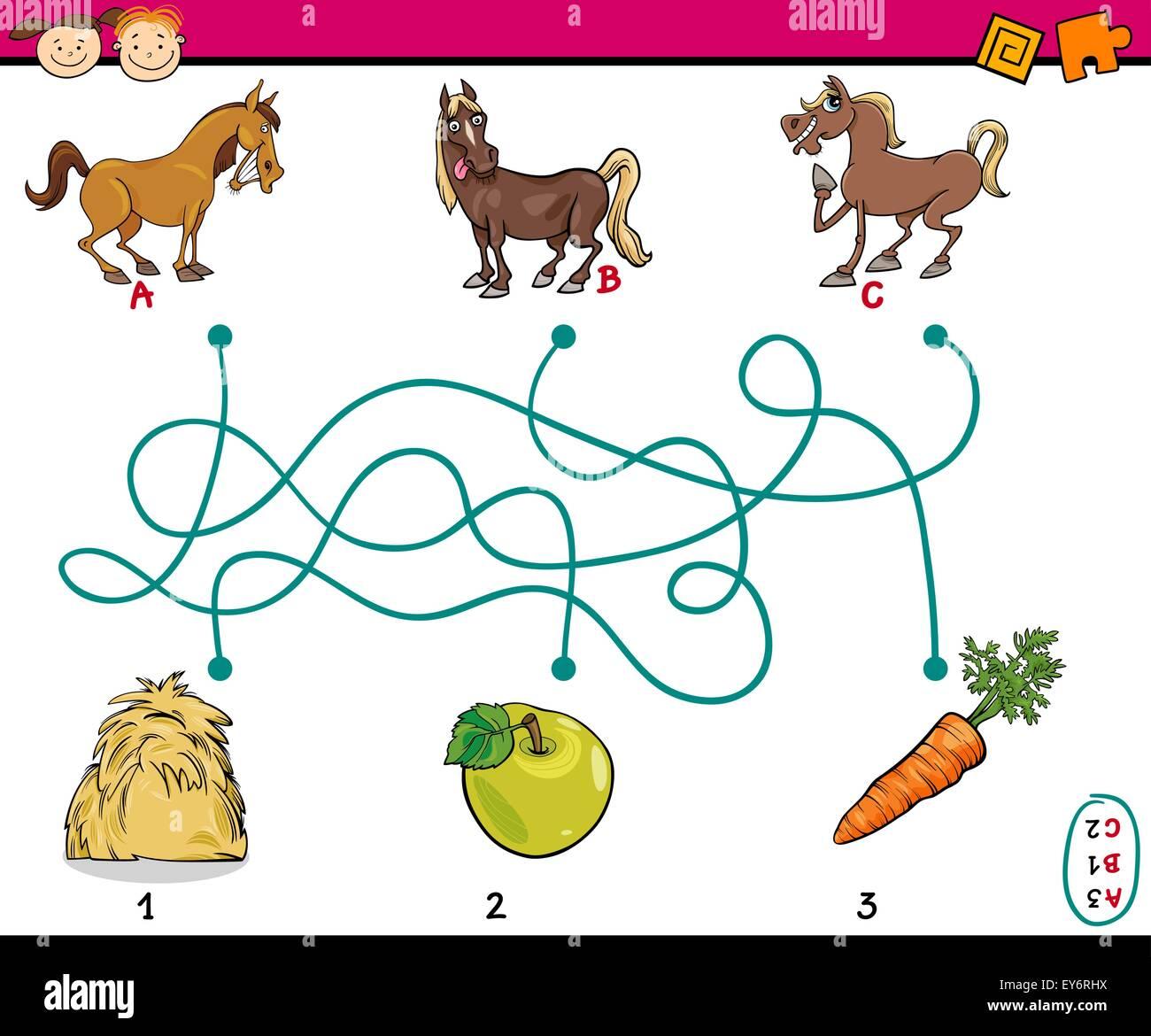 Ilustración De Dibujos Animados De Educación Trazados O Laberinto