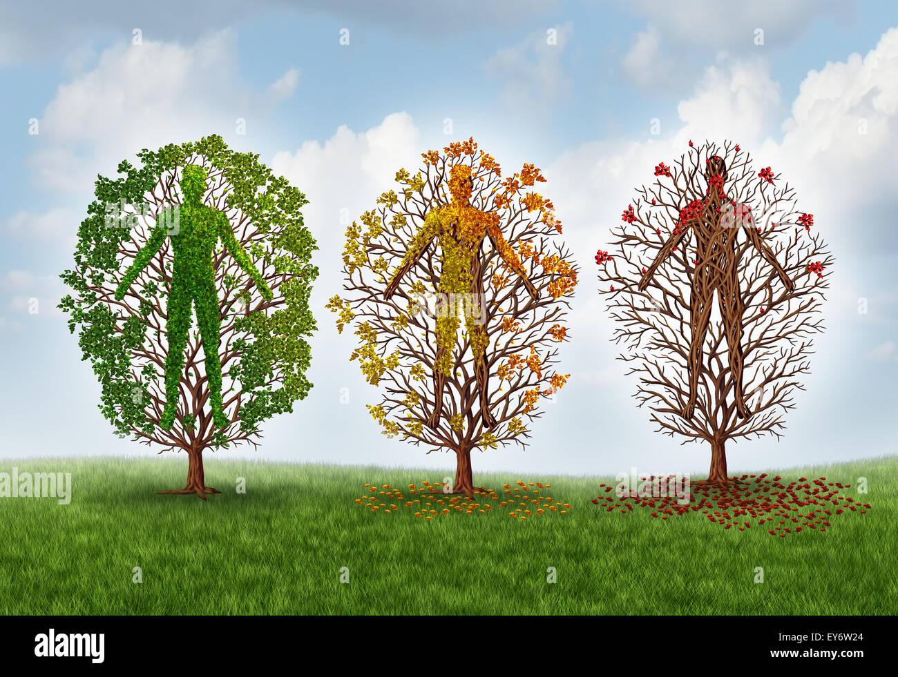 Concepto de envejecimiento humano y deterioro de la salud debido a la enfermedad en el cuerpo como un saludable Imagen De Stock