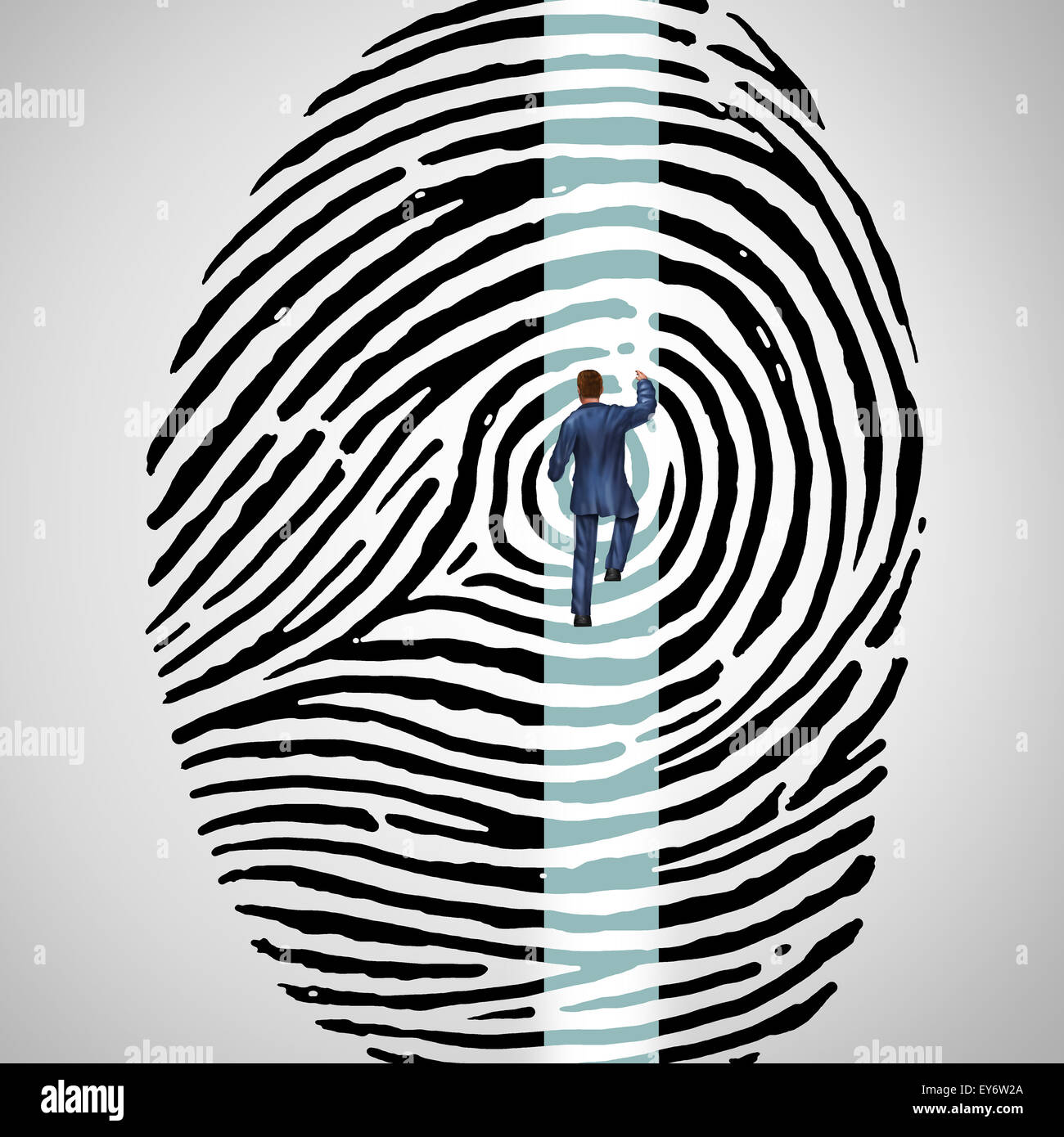 Seguridad Personal desafío concepto como una persona subiendo una huellas o huella digital como una escalera Imagen De Stock
