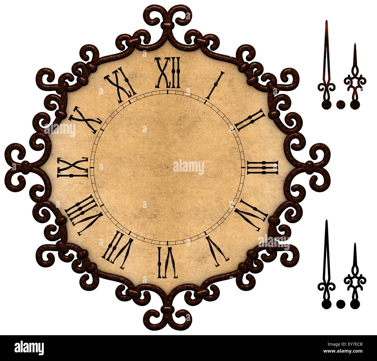 Reloj antiguo con marco metálico de estilo victoriano, el grunge ...
