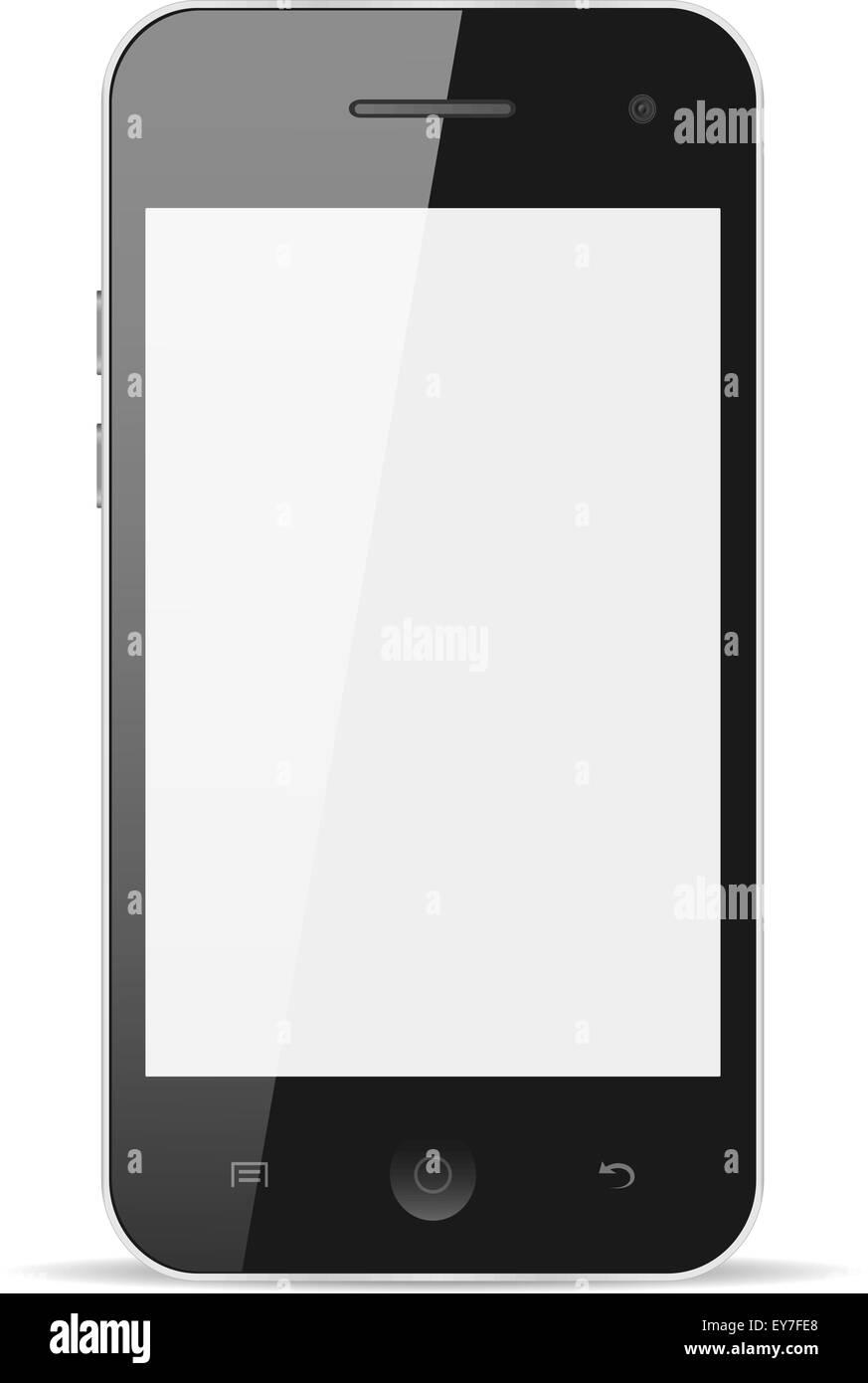 Teléfono inteligente con pantalla en blanco sobre fondo blanco aisladas, EPS vector10 Imagen De Stock