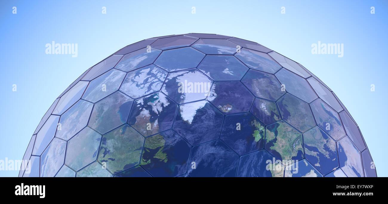 Globo terráqueo cubierto con paneles de cristal hexagonal - Ilustración conceptual del efecto invernadero Imagen De Stock