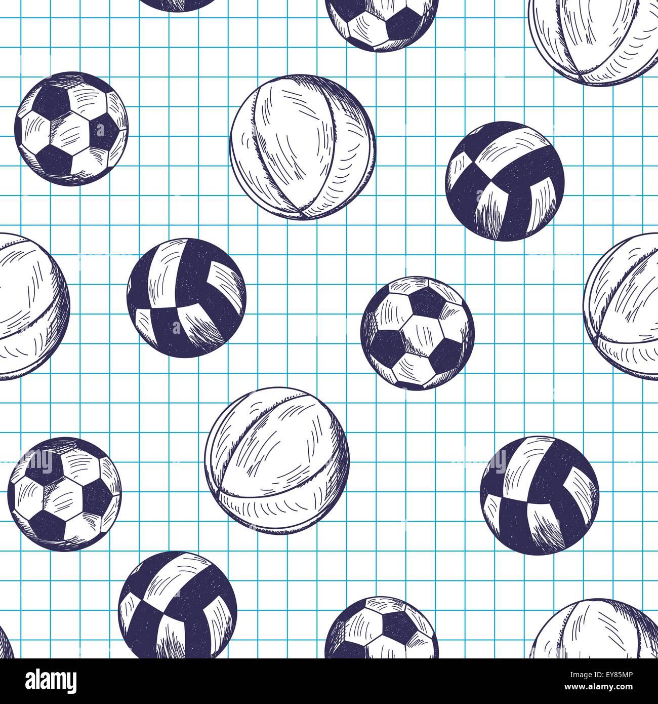 Patrón sin fisuras con diferentes dibujados a mano balones deportivos en la  accidentada copybook antecedentes Imagen de1ae134ee768
