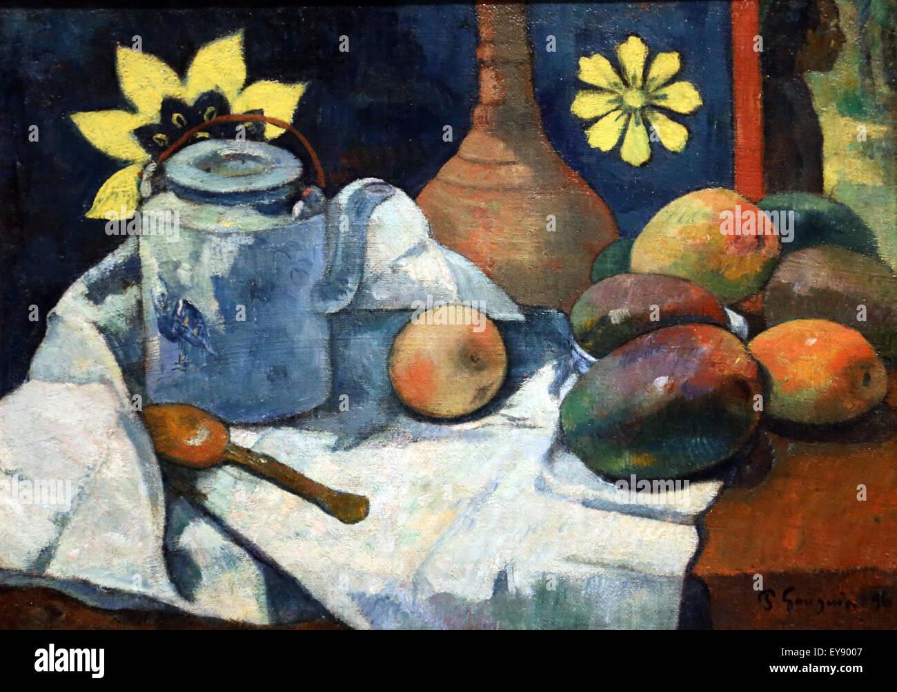 Paul Gauguin (1848-1903). El pintor francés. Bodegón con Teapol y fruta, 1896. Óleo sobre lienzo. Imagen De Stock