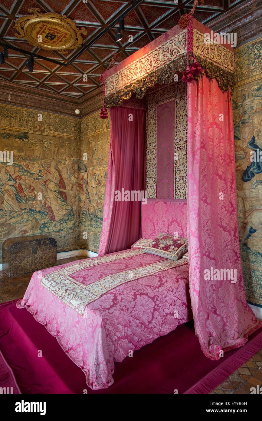 5 dormitorio de la reina en el castillo de Chenonceau, Indre-et-Loire, Centro, Francia Imagen De Stock