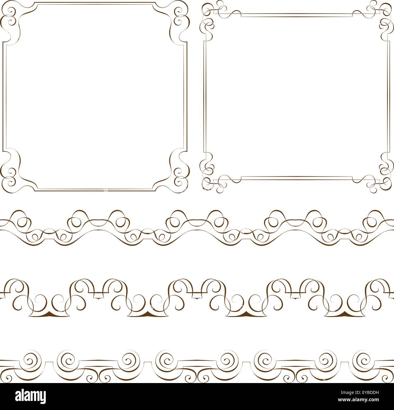 Conjunto de marcos y bordes elegantes vectorial Ilustración del ...