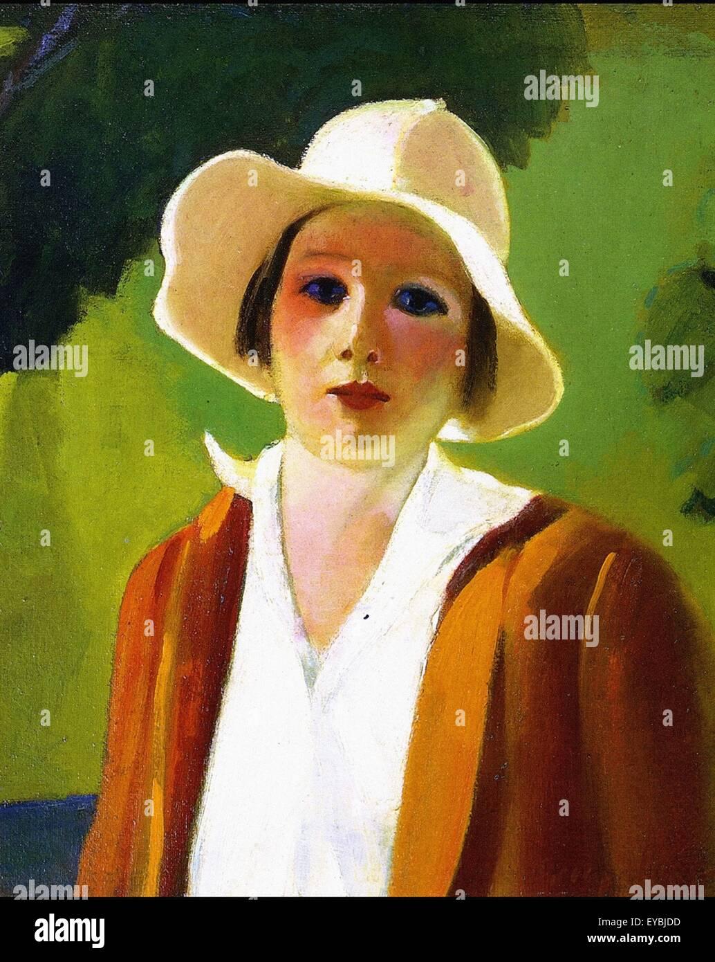 George Luks Dama con sombrero blanco Imagen De Stock