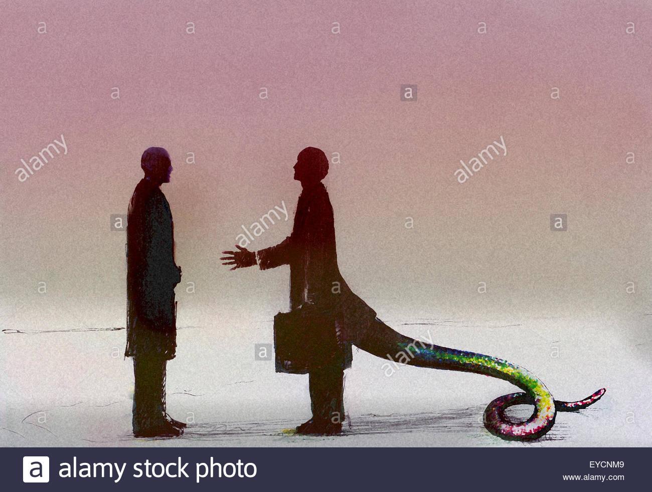 Empresario con cola de serpiente saludo compañero Imagen De Stock
