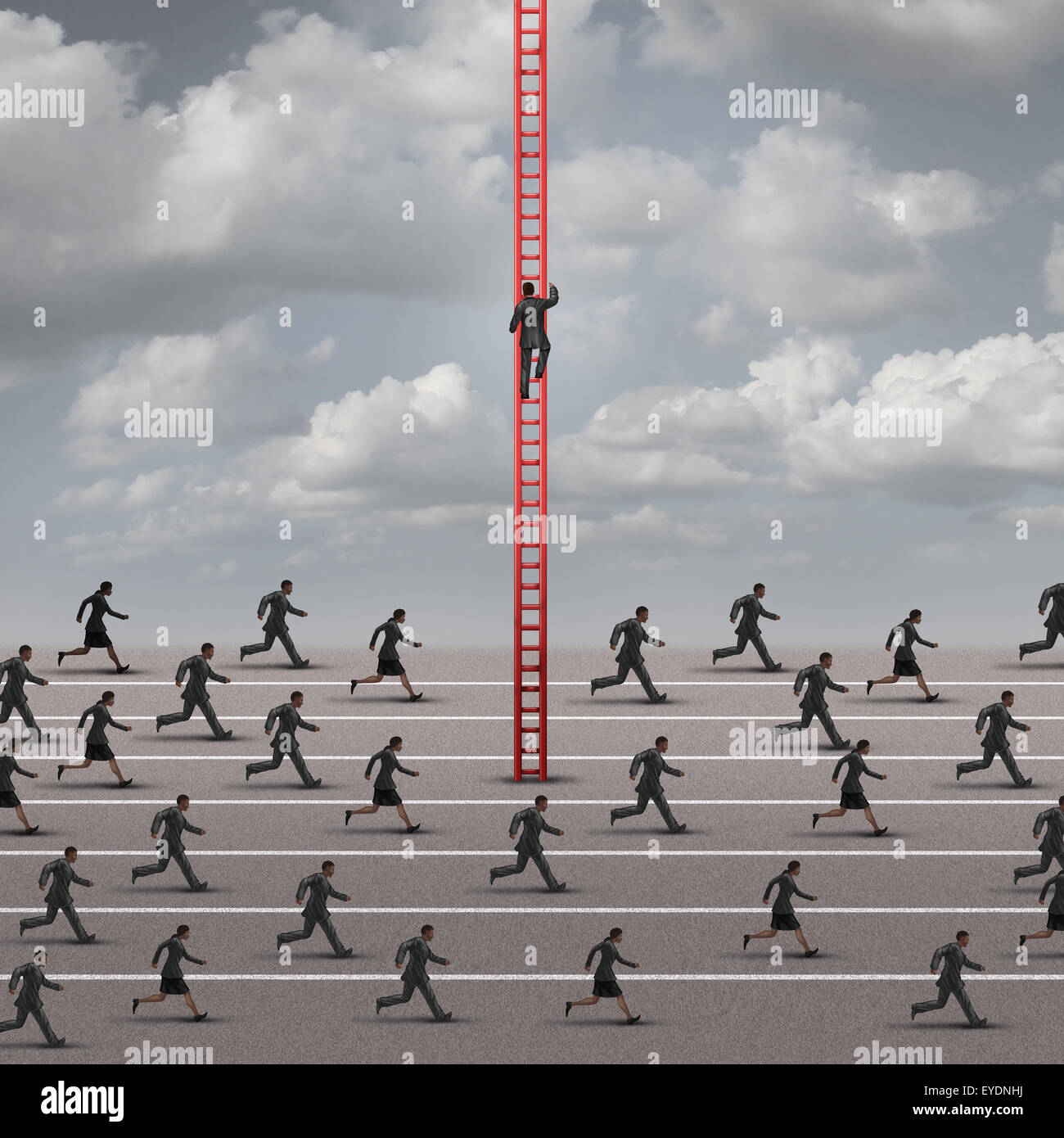 Contra la corriente de marea o concepto de negocio como una metáfora del ser diferente y encontrar soluciones Imagen De Stock