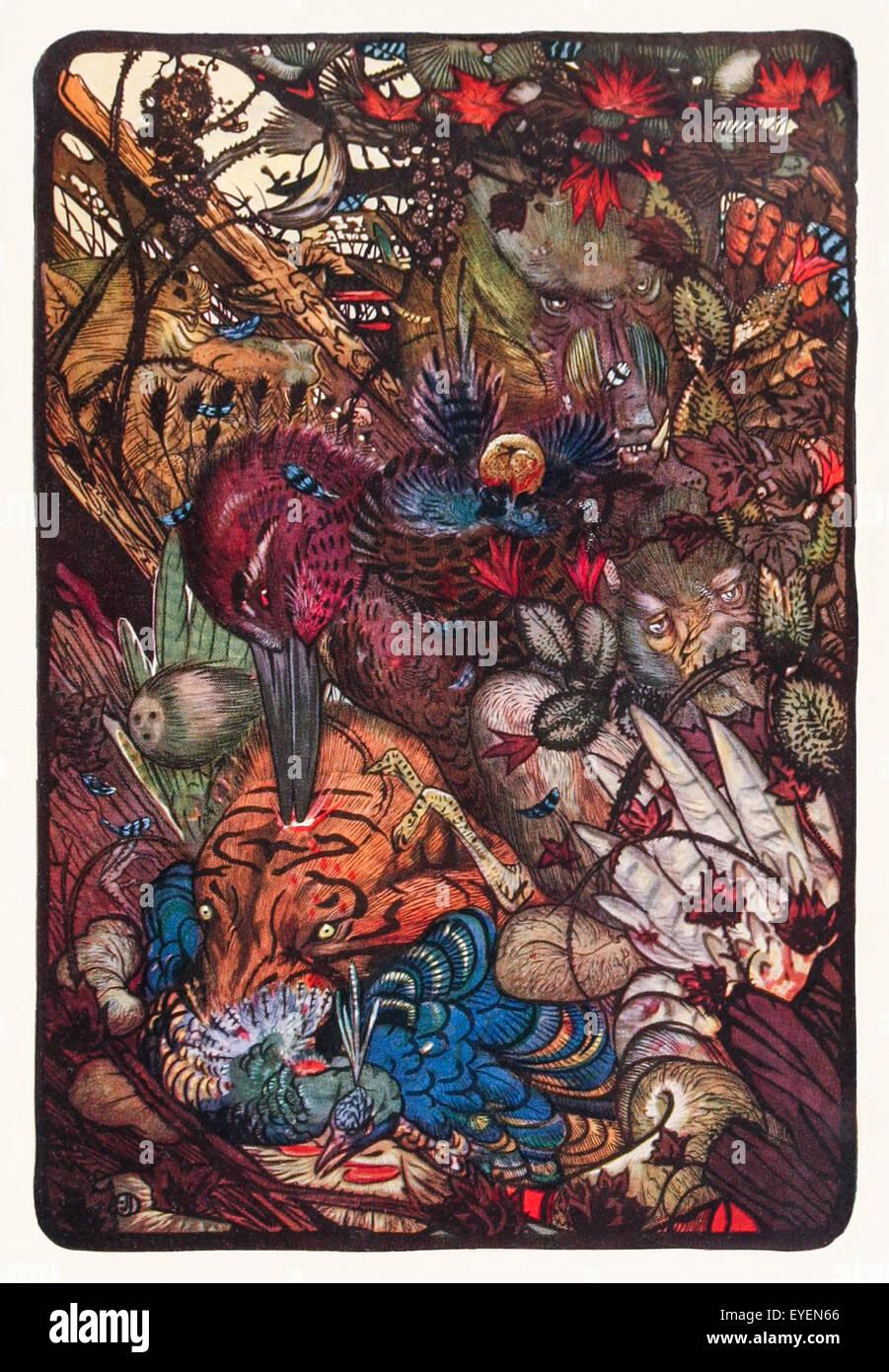 """""""Los pájaros, las bestias, y el Bat' de la fábula de Esopo (circa 600 AC).Las aves hacen la guerra. Imagen De Stock"""