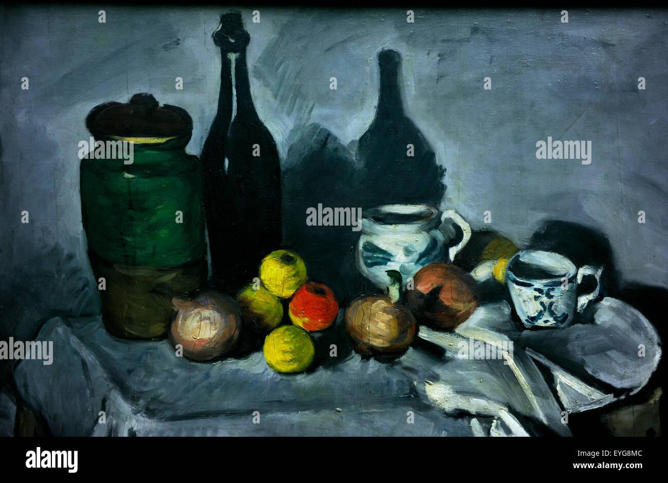 Pablo CŽzanne 'Still Life con fruta y vajilla' Imagen De Stock