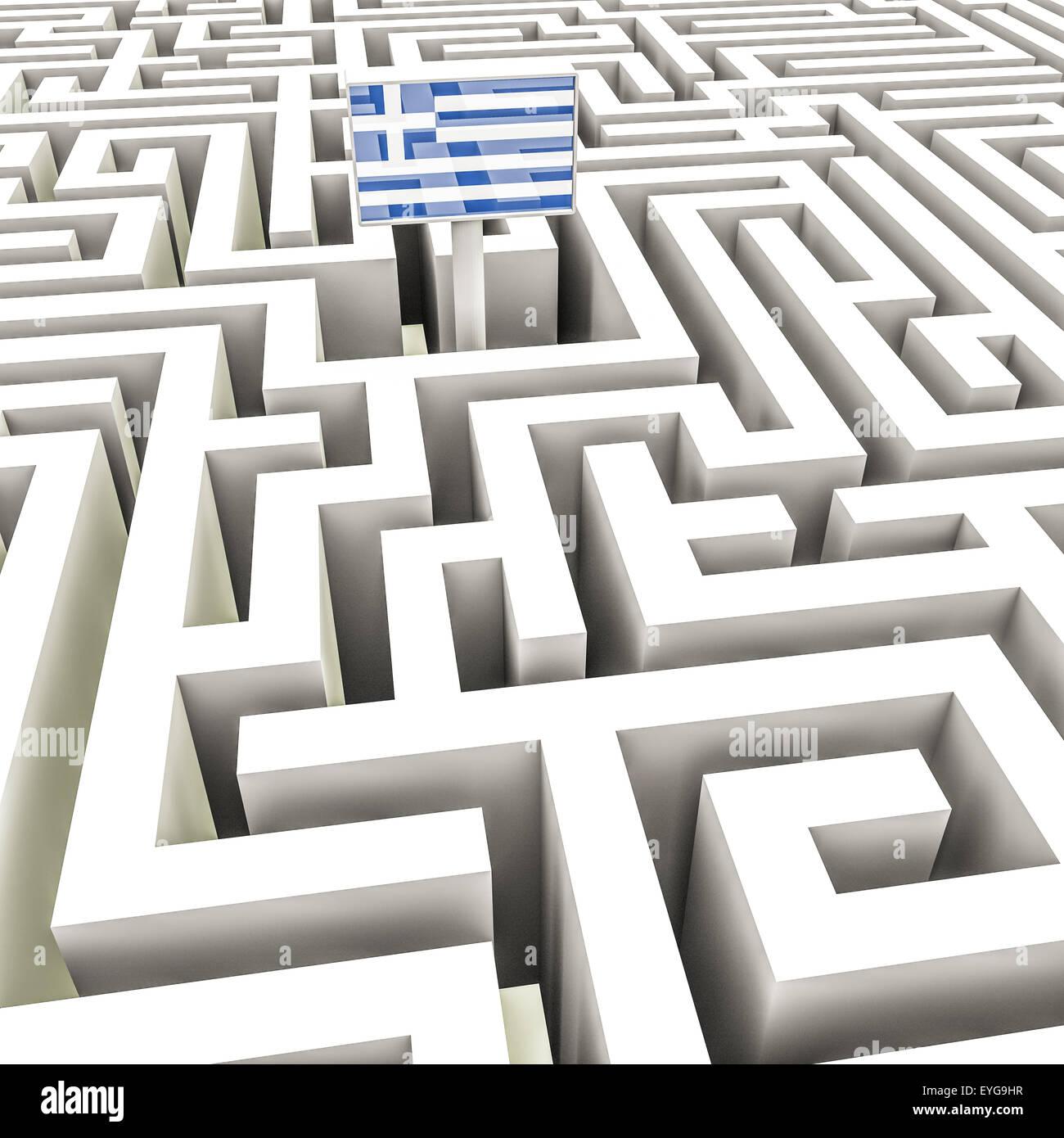 Bandera griega en un complejo laberinto Foto de stock