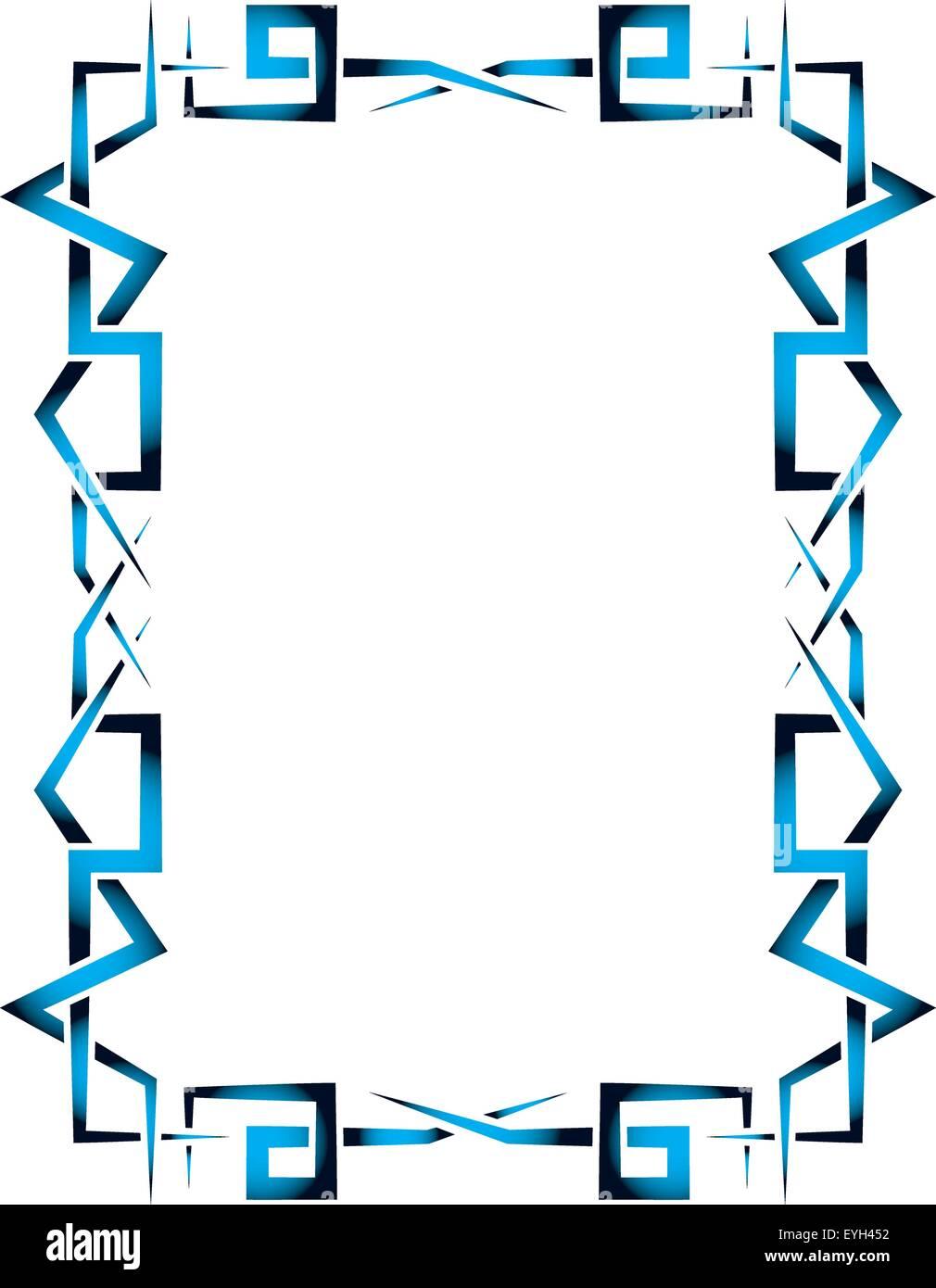 Azul y negro vector creativo marco ornamental sobre un fondo blanco ...