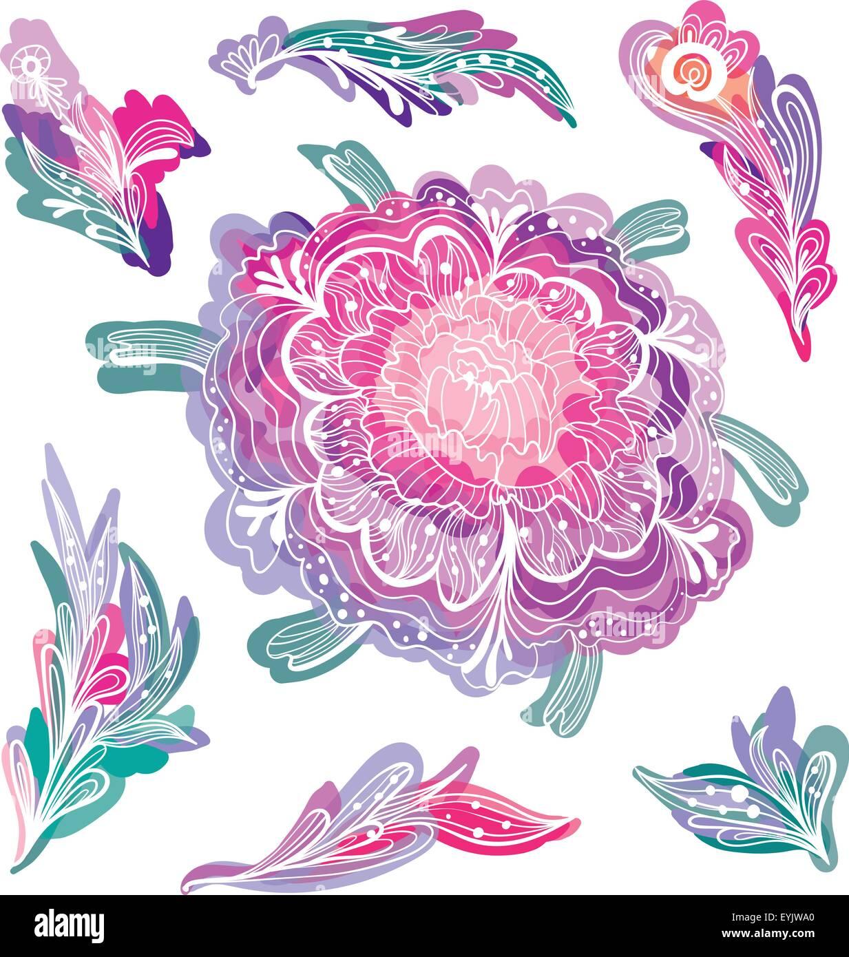 Dibujo Vectorial Doodle Flores Y Follaje Con Efecto Acuarela