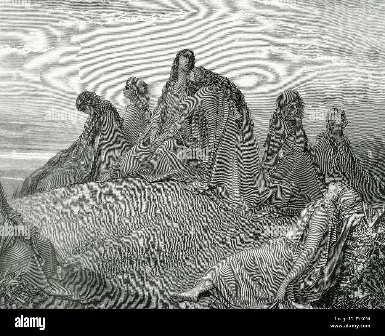 Antiguo Testamento. La hija de Jefté y sus compañeros. Grabado. Ilustración de la Biblia por Gustave Imagen De Stock