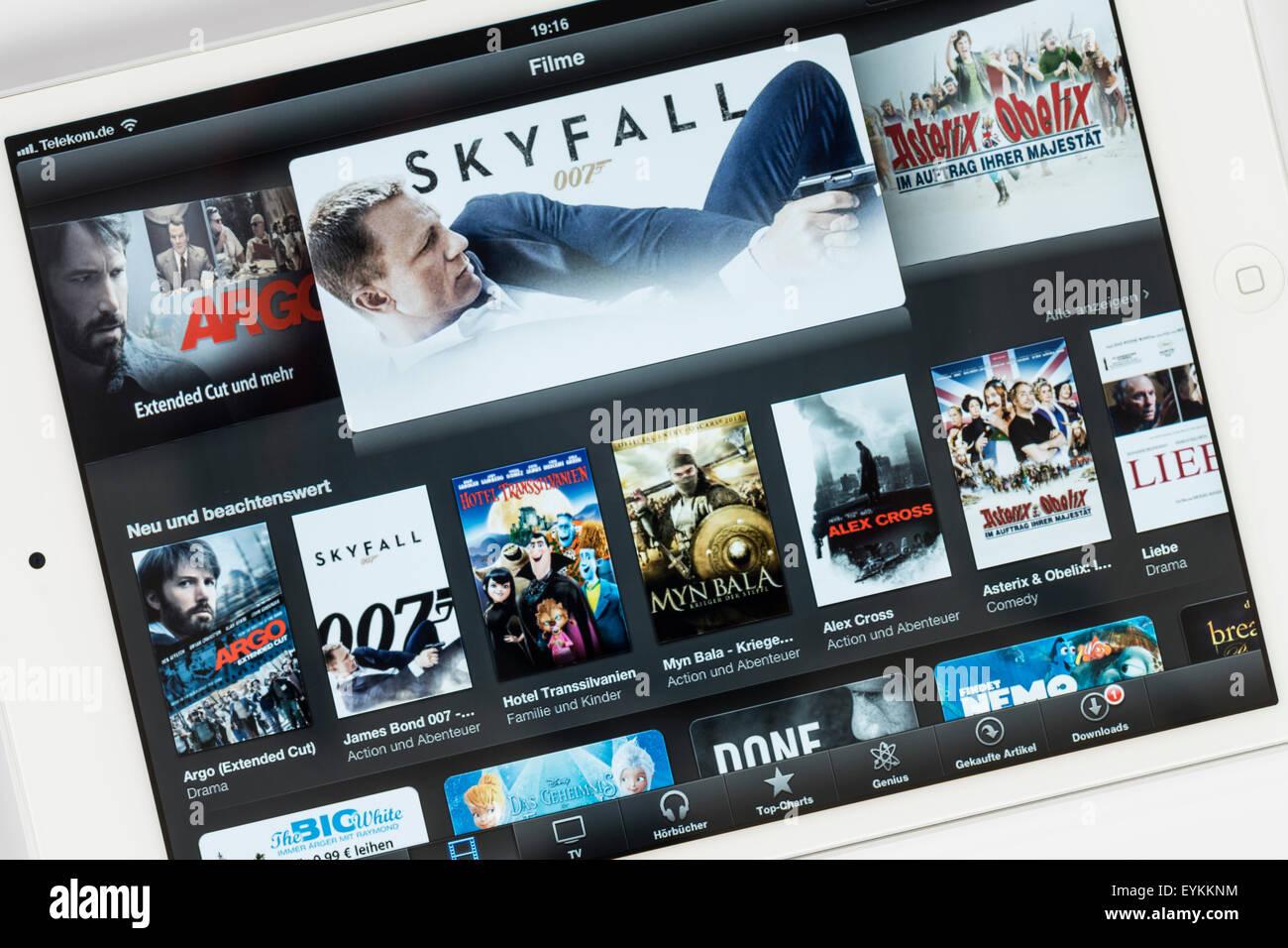 Apple iPad mini, mostrar películas, iTunes net cortina, iPad ext., programa multi-función de aire, detalle Imagen De Stock